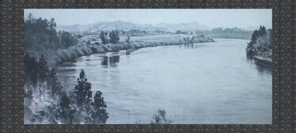 五月の流れ 最上川 100号<br />Stream of the Mogami River in May.
