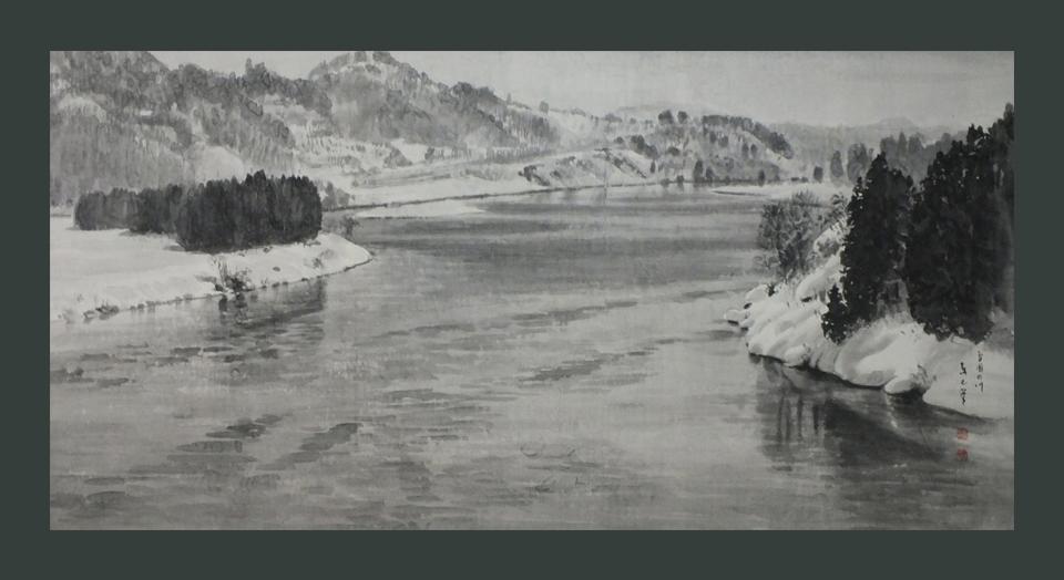 ●雪国の川 100号