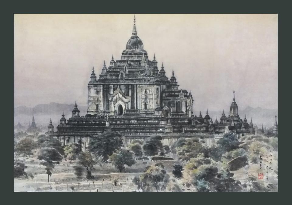 ●平原の寺院 30号  ミャンマー タピニュー寺院