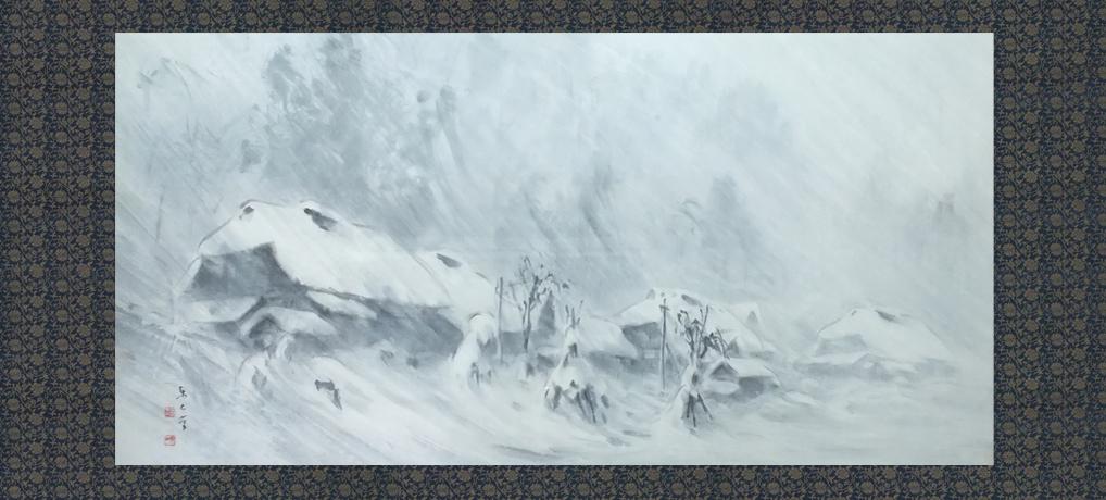 吹雪く山里 矢引沢 100号<br />Mountain village in the snowstorm.