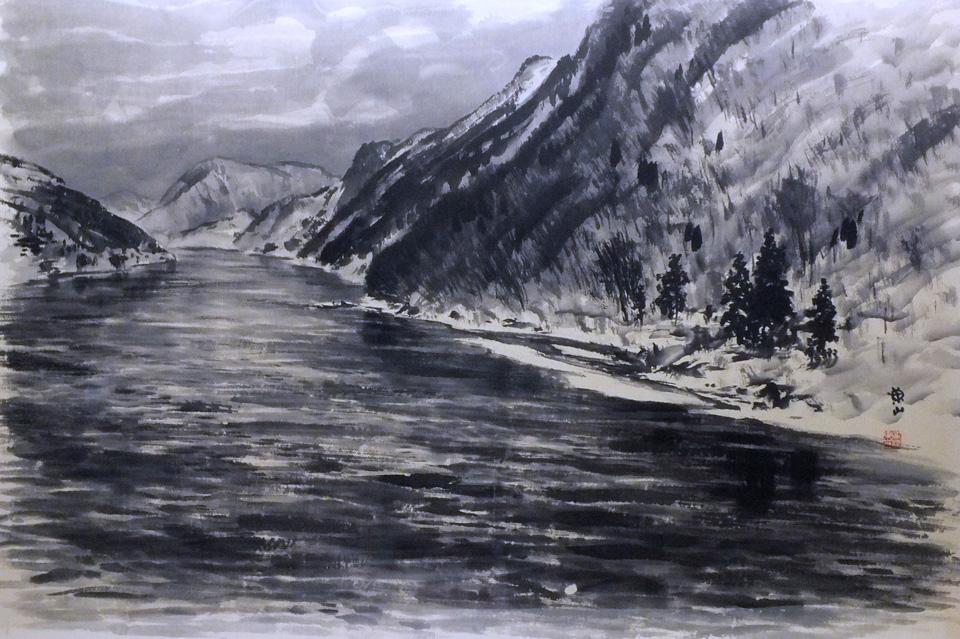 Snow scene of Mogami River.