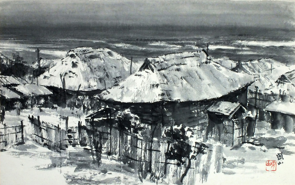 A Fishing village lull in the snow.