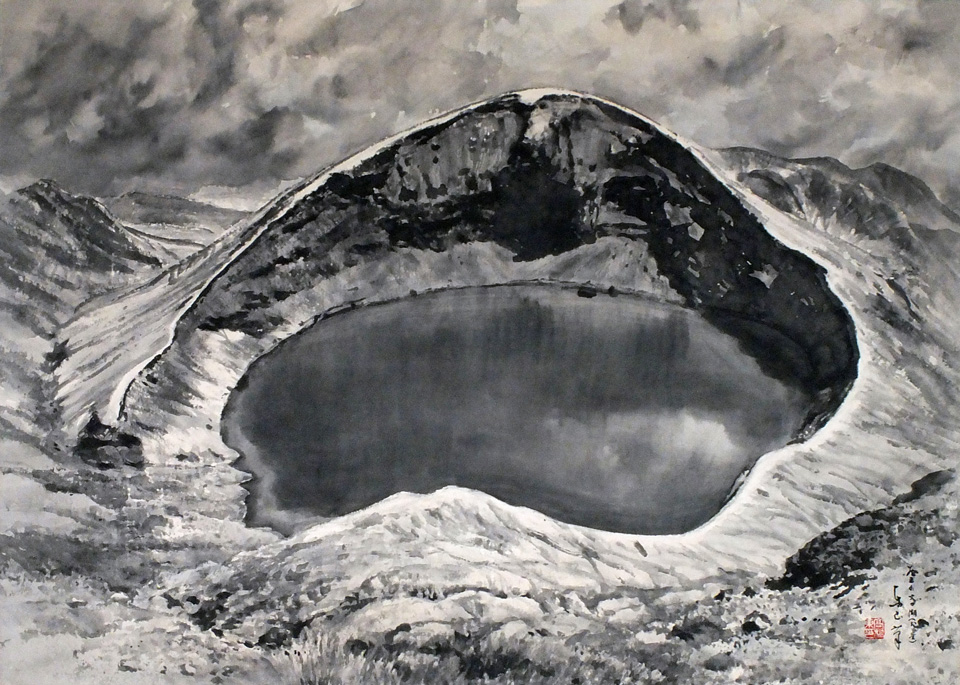 Crater lake of Mt. Zao.