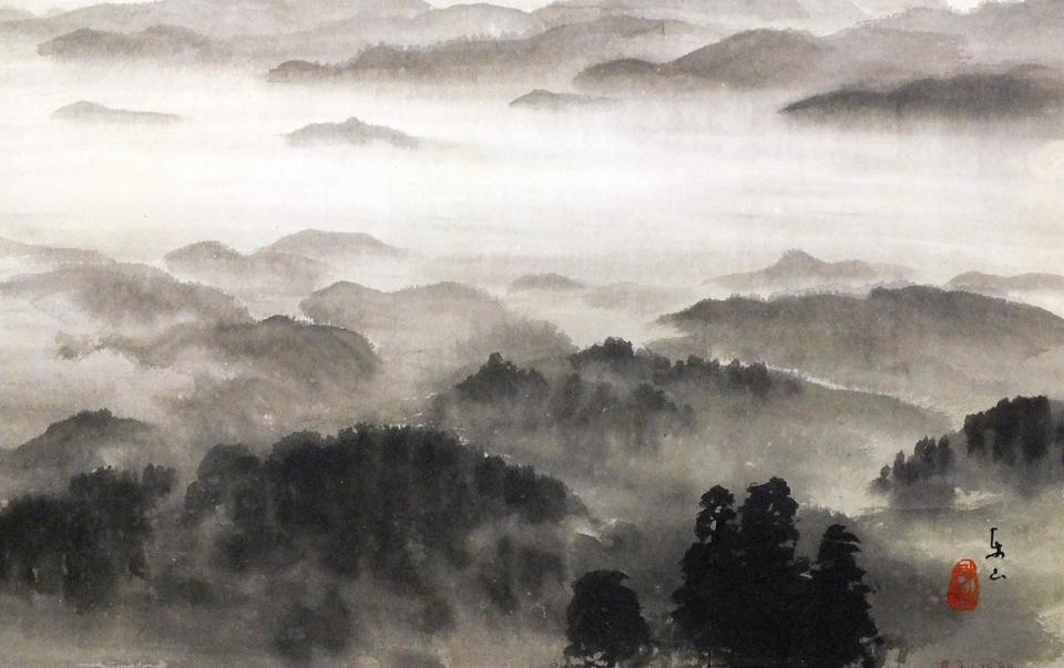 Village under mist.
